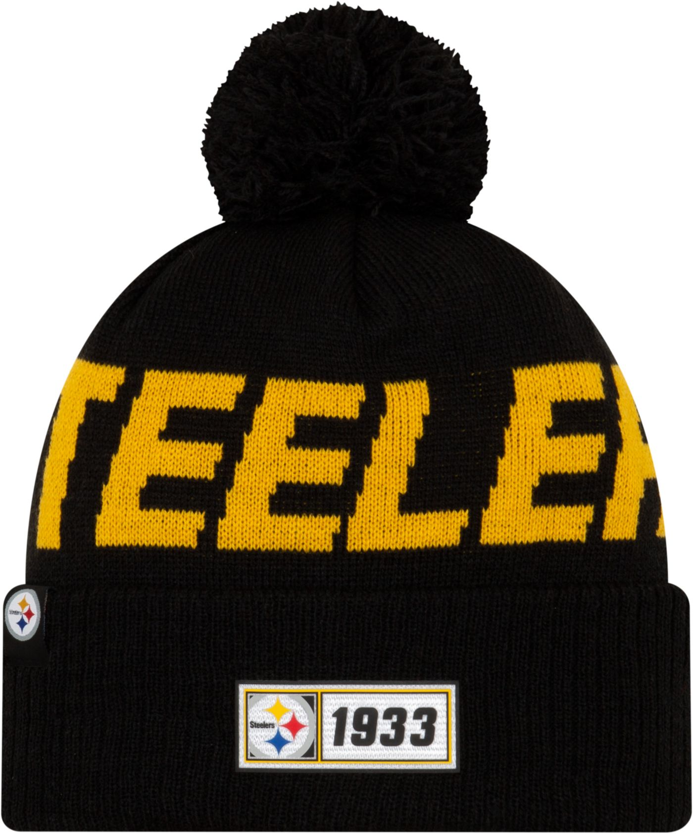New Era Men's Pittsburgh Steelers Sideline Road Sport Pom Knit