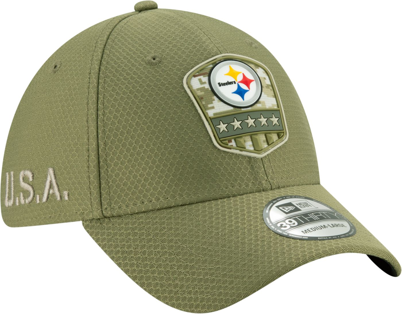 New Era Men's Salute to Service Pittsburgh Steelers 39Thirty Olive Stretch Fit Hat