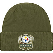 New Era Men's Salute to Service Pittsburgh Steelers Olive Cuffed Knit Hat