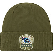 New Era Men's Salute to Service Tennessee Titans Olive Cuffed Knit