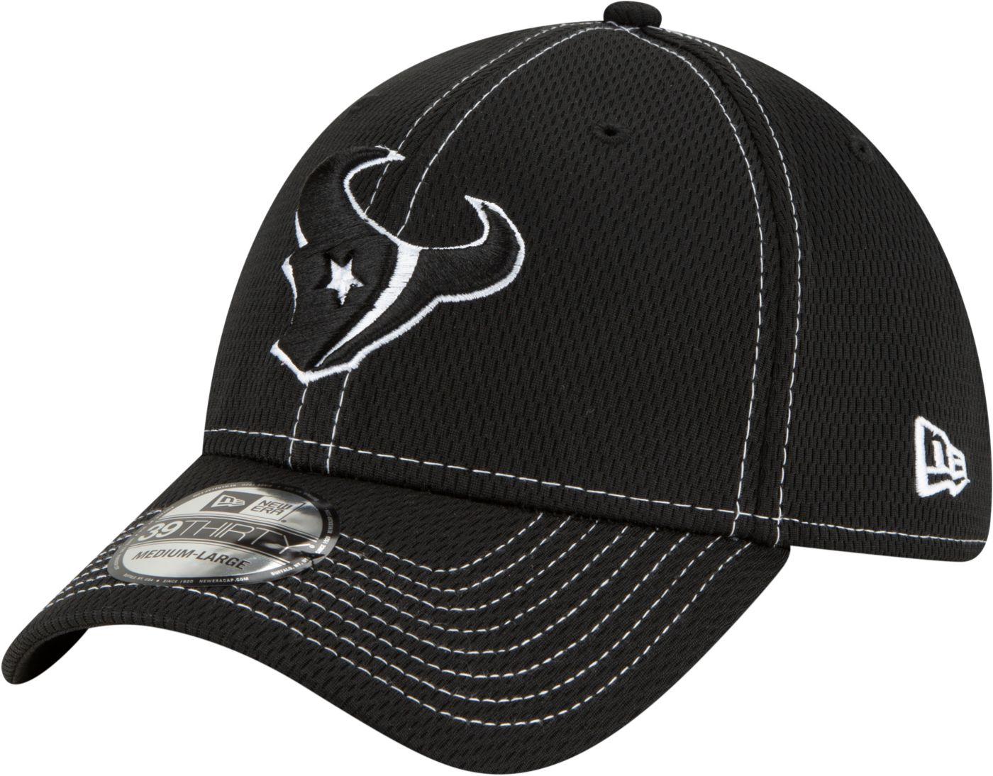 New Era Men's Houston Texans Sideline Road 39Thirty Stretch Fit Black Hat