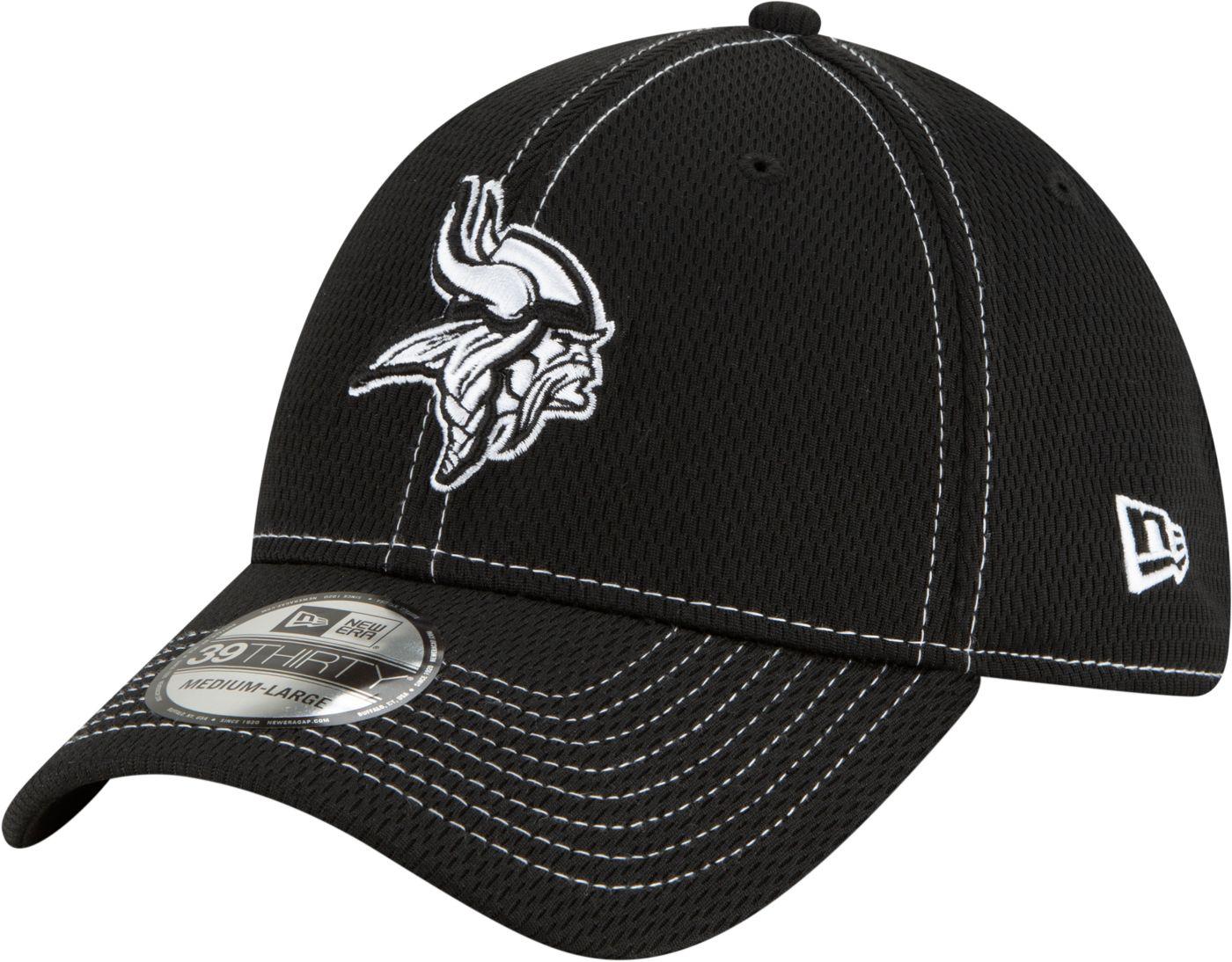 New Era Men's Minnesota Vikings Sideline Road 39Thirty Stretch Fit Black Hat
