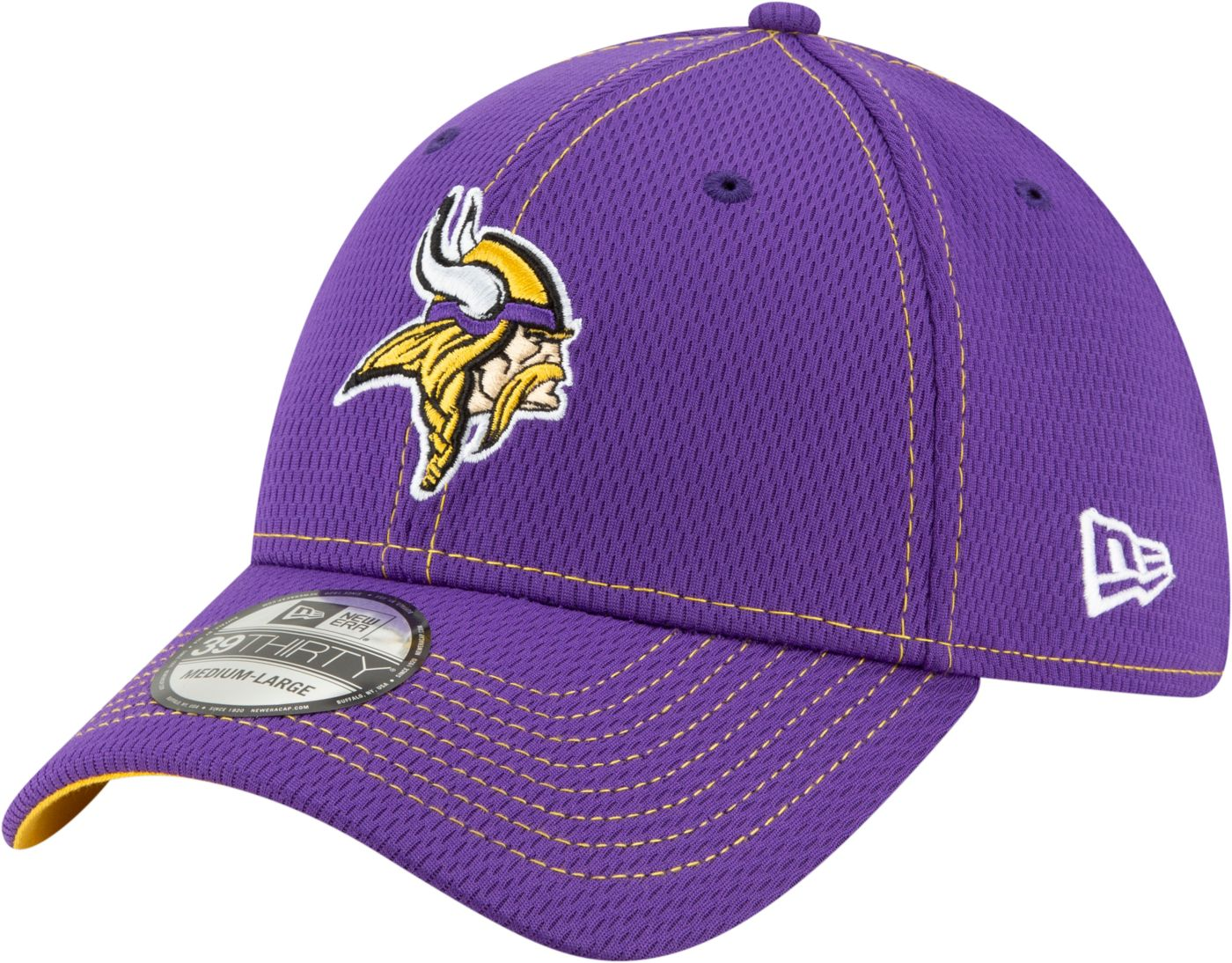 New Era Men's Minnesota Vikings Sideline Road 39Thirty Stretch Fit Hat