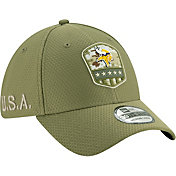 New Era Men's Salute to Service Minnesota Vikings 39Thirty Olive Stretch Fit Hat