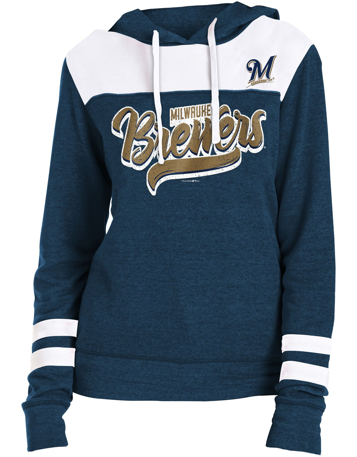 New Era Women's Milwaukee Brewers Tri-Blend Pullover Hoodie
