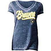 New Era Women's Milwaukee Brewers Tri-Blend V-Neck T-Shirt
