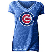 New Era Women's Chicago Cubs Tri-Blend V-Neck T-Shirt