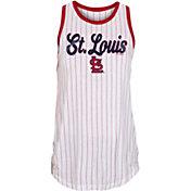 New Era Women's St. Louis Cardinals White Pinstripe Muscle Tank Top