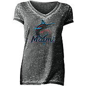 New Era Women's Miami Marlins Tri-Blend V-Neck T-Shirt