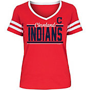 New Era Women's Cleveland Indians Tri-Blend V-Neck T-Shirt