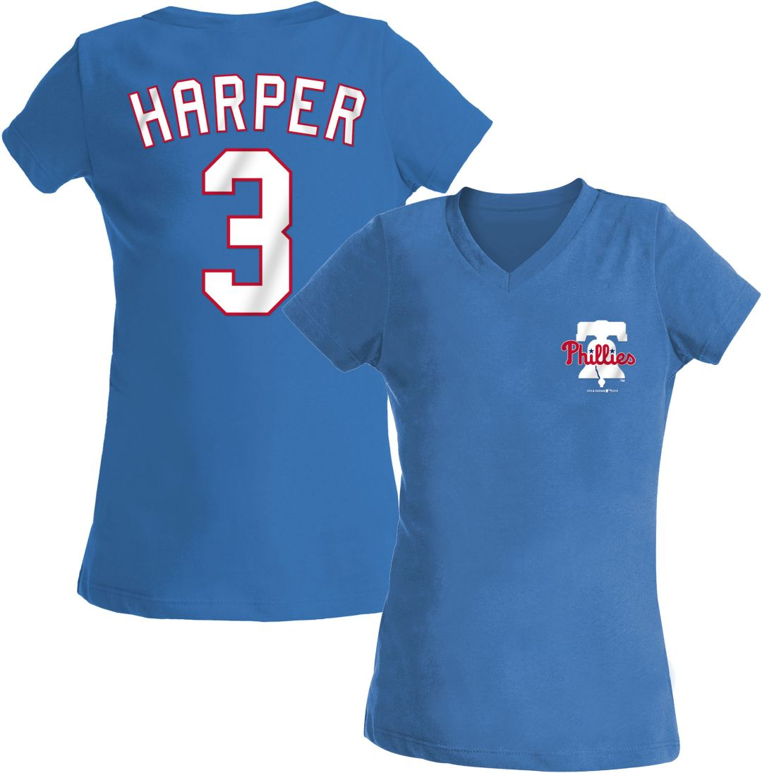promo code 26b2c 383fc New Era Youth Girls' Philadelphia Phillies Bryce Harper Tri-Blend V-Neck  T-Shirt