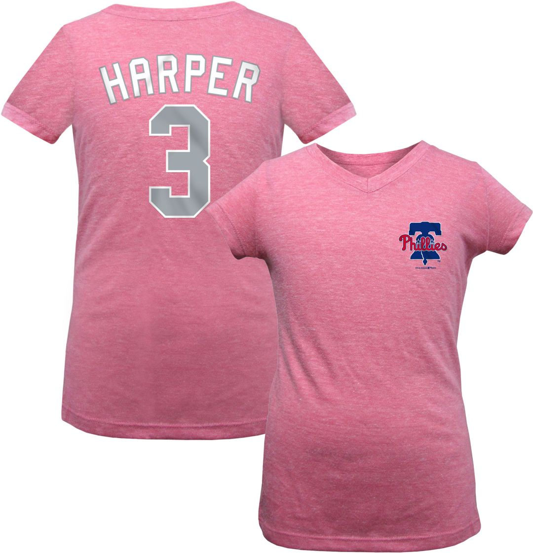 on sale 06cf4 e61dd New Era Youth Girls' Philadelphia Phillies Bryce Harper Tri-Blend T-Shirt