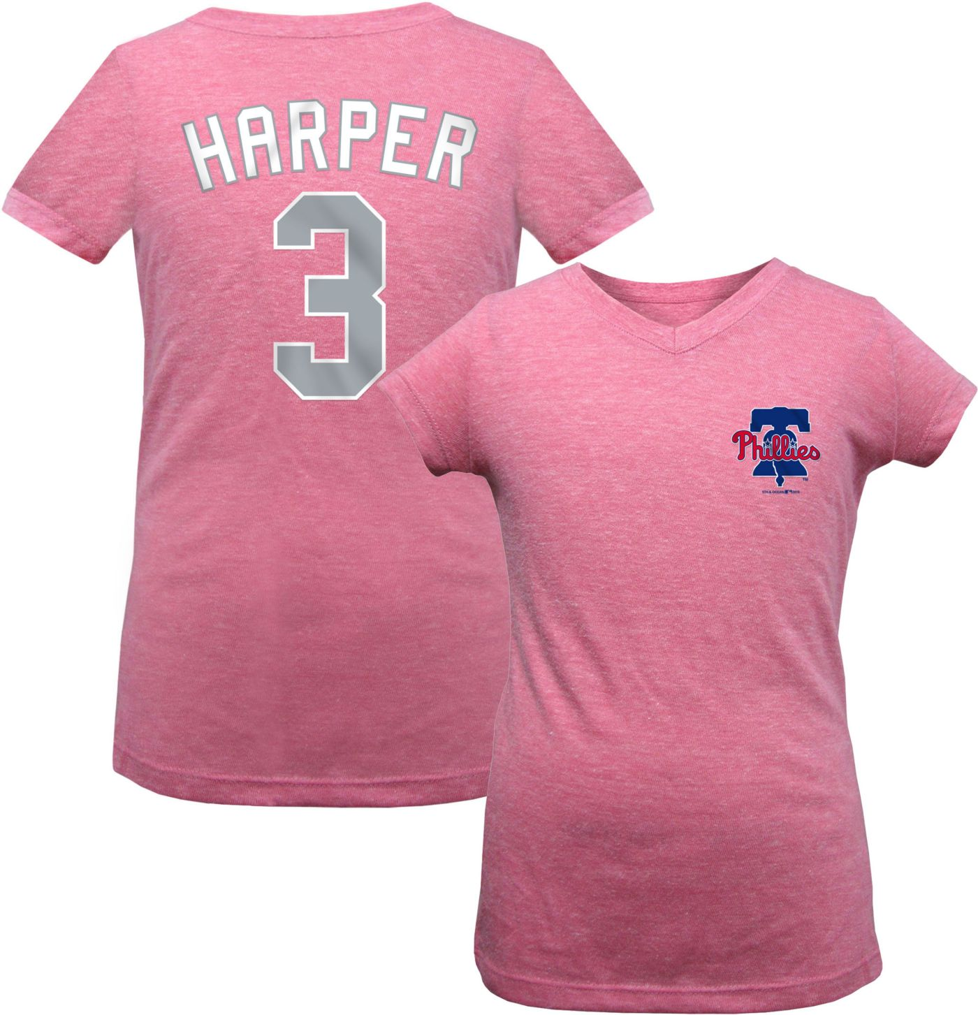 New Era Youth Girls' Philadelphia Phillies Bryce Harper Tri-Blend T-Shirt