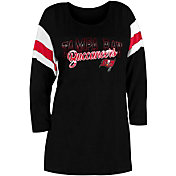 New Era Women's Tampa Bay Buccaneers Foil Slub Black Three-Quarter Sleeve Shirt
