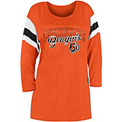 New Era Women's Cincinnati Bengals Foil Slub Orange Three-Quarter Sleeve T-Shirt