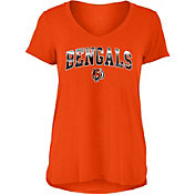 New Era Women's Cincinnati Bengals Orange Foil V-Neck T-Shirt