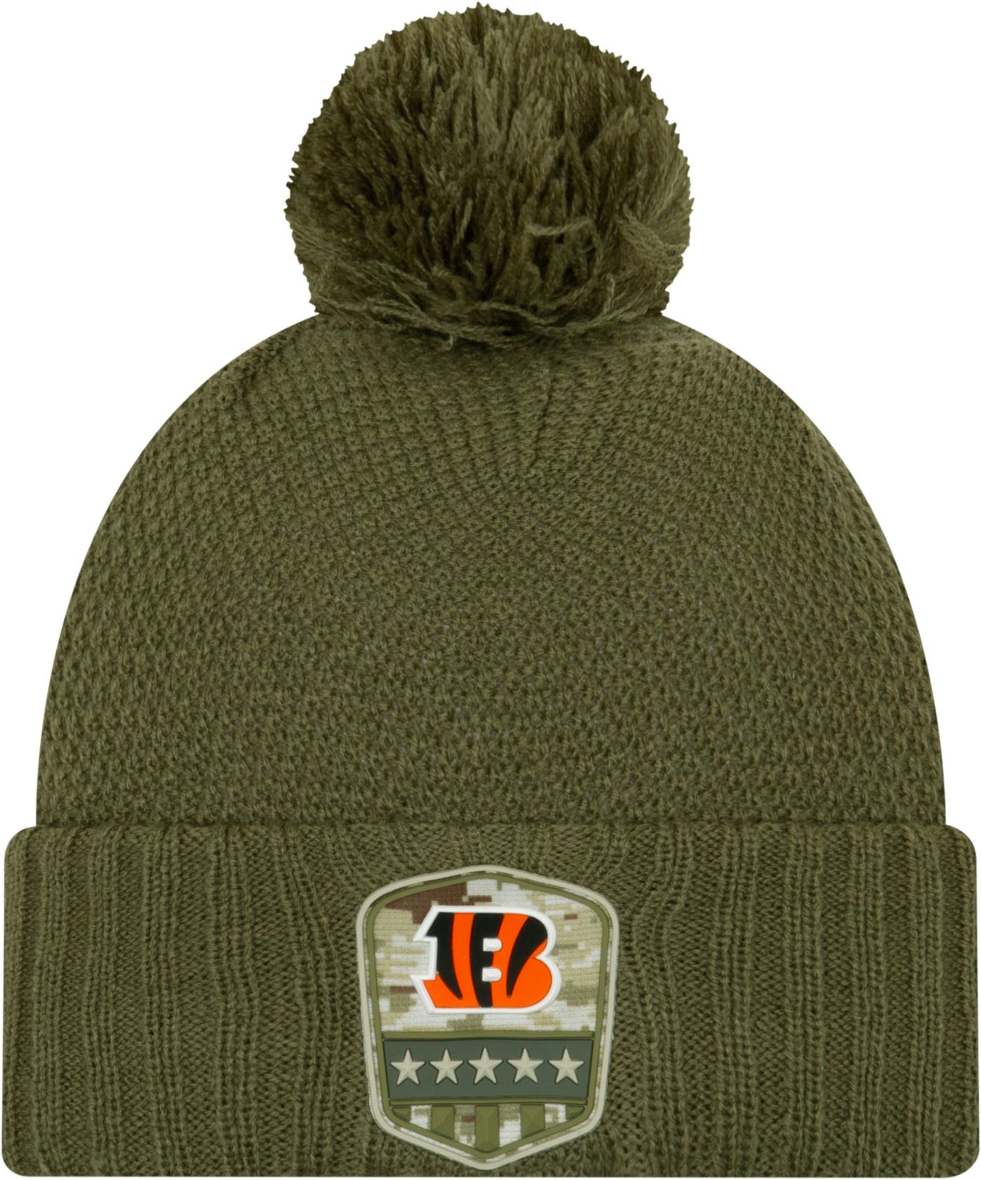 New Era Women's Salute to Service Cincinnati Bengals Olive Cuffed Pom Knit