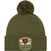 New Era Women's Salute to Service Chicago Bears Olive Cuffed Pom Knit