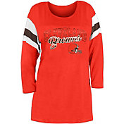 New Era Women's Cleveland Browns Foil Slub Orange Three-Quarter Sleeve Shirt