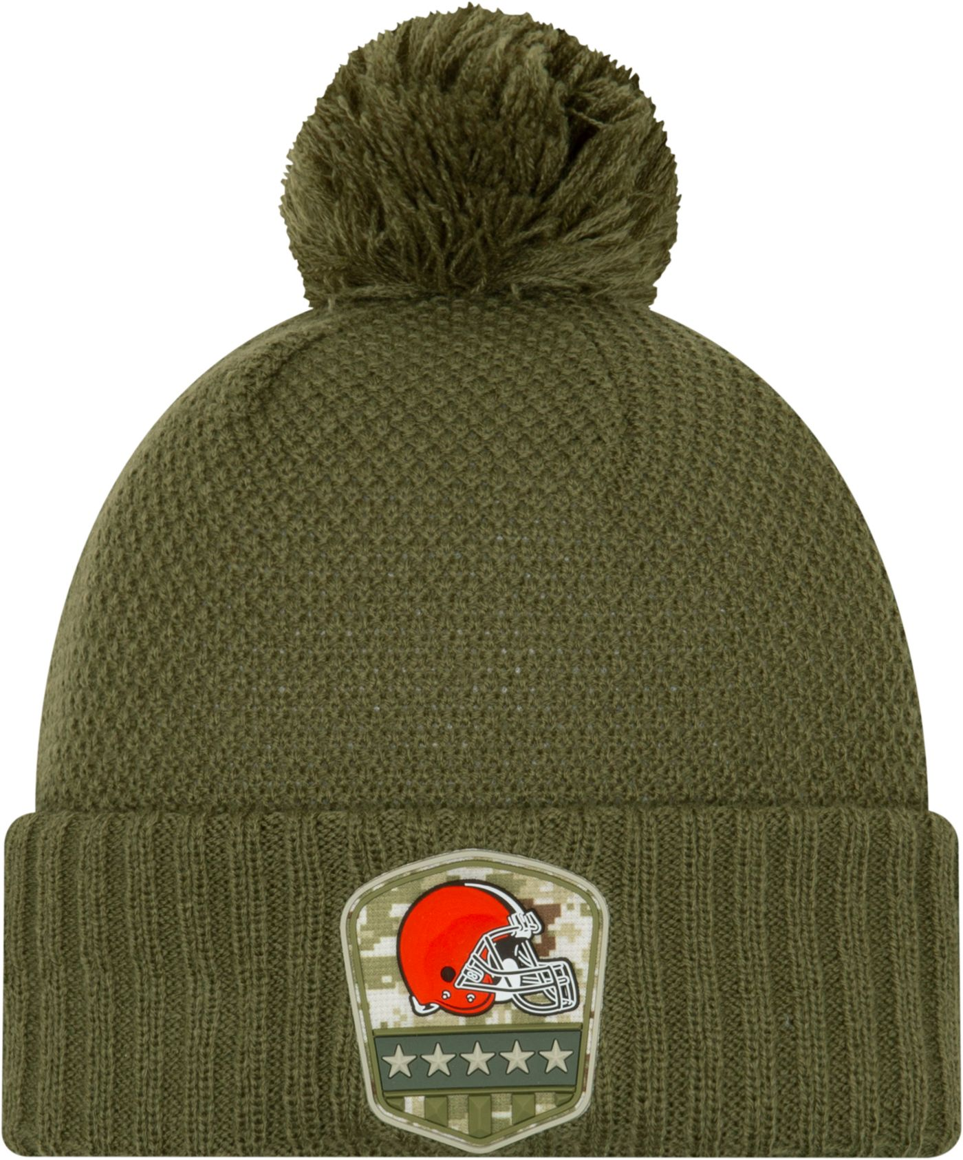 New Era Women's Salute to Service Cleveland Browns Olive Cuffed Pom Knit