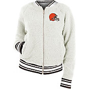 New Era Women's Cleveland Browns Sherpa White Full-Zip Jacket