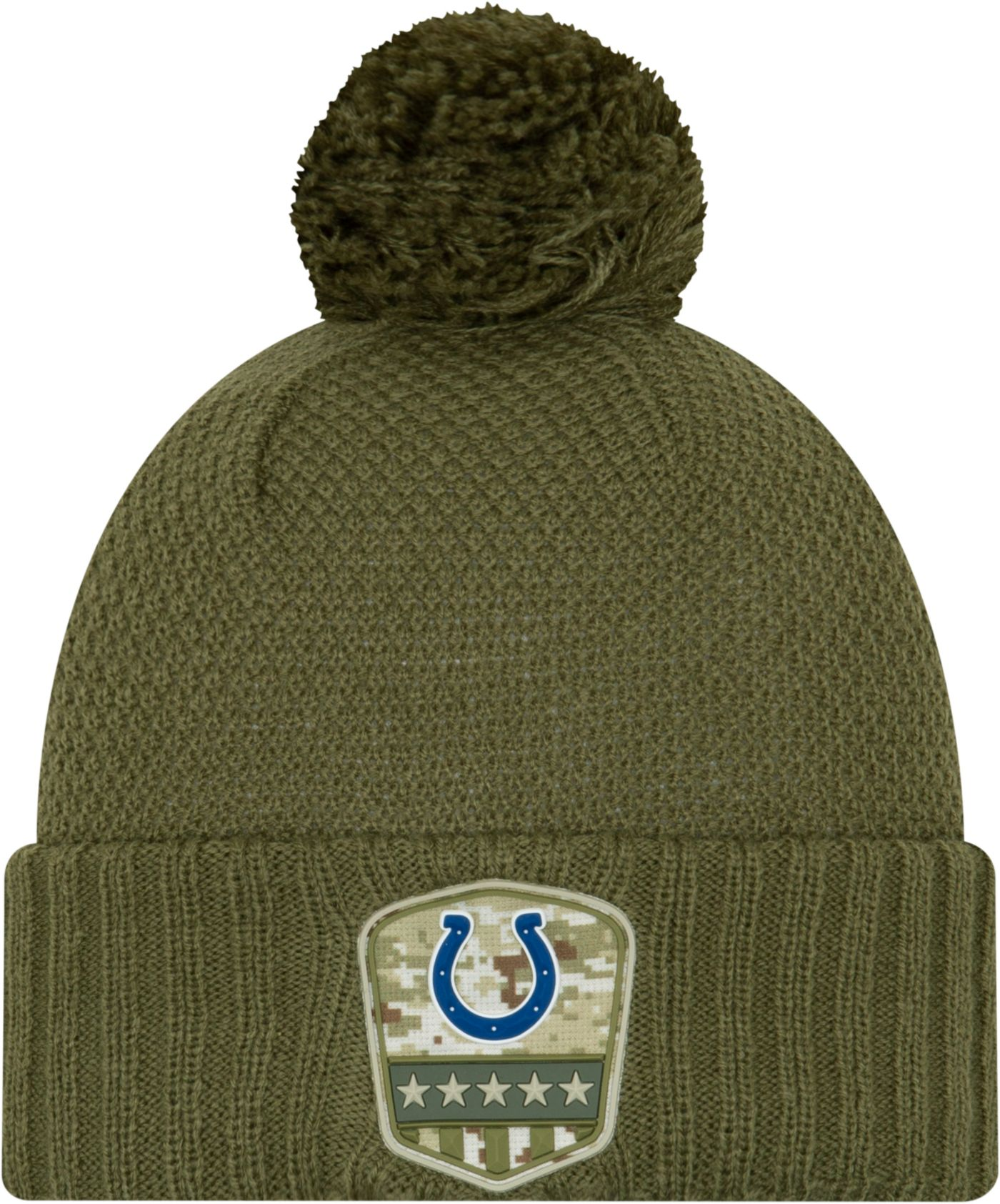 New Era Women's Salute to Service Indianapolis Colts Olive Cuffed Pom Knit