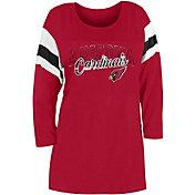 New Era Women's Arizona Cardinals Foil Slub Red Three-Quarter Sleeve T-Shirt