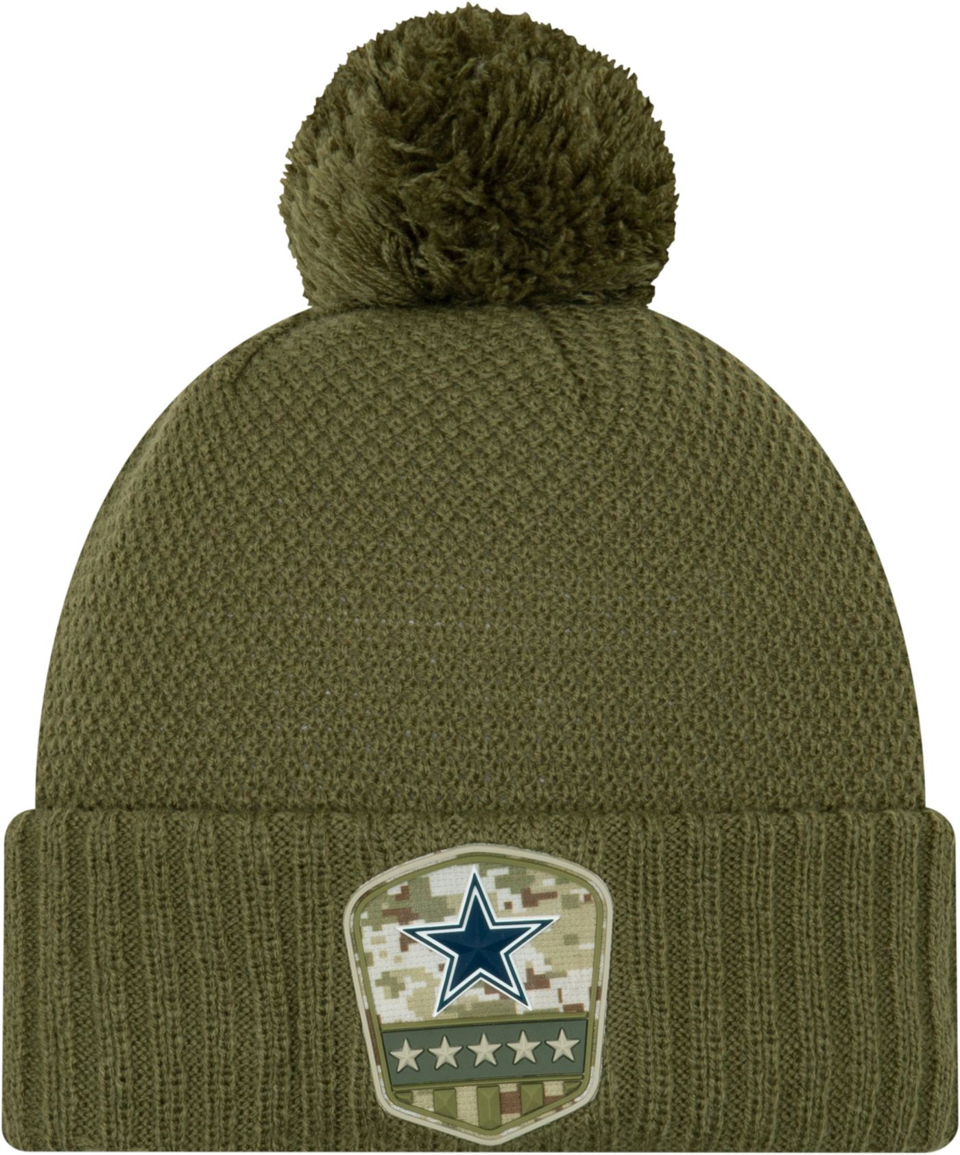 New Era Women's Salute to Service Dallas Cowboys Olive Cuffed Pom Knit
