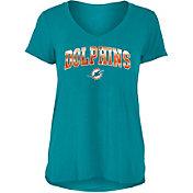 New Era Women's Miami Dolphins Aqua Foil V-Neck T-Shirt