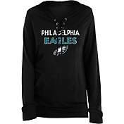 New Era Women's Philadelphia Eagles Lace Hood Black Long-Sleeve Shirt