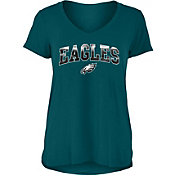 New Era Women's Philadelphia Eagles Green Foil V-Neck T-Shirt