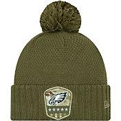 New Era Women's Salute to Service Philadelphia Eagles Olive Cuffed Pom Knit