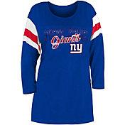 New Era Women's New York Giants Foil Slub Royal Three-Quarter Sleeve T-Shirt