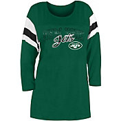 New Era Women's New York Jets Foil Slub Green Three-Quarter Sleeve T-Shirt