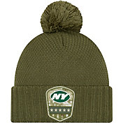 New Era Women's Salute to Service New York Jets Olive Cuffed Pom Knit