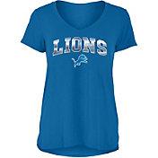 New Era Women's Detroit Lions Blue Foil V-Neck T-Shirt
