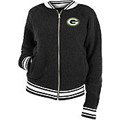 New Era Women's Green Bay Packers Sherpa Black Full-Zip Jacket
