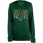 New Era Women's Green Bay Packers Lace Hood Green Long Sleeve T-Shirt