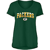 New Era Women's Green Bay Packers Green Foil V-Neck T-Shirt