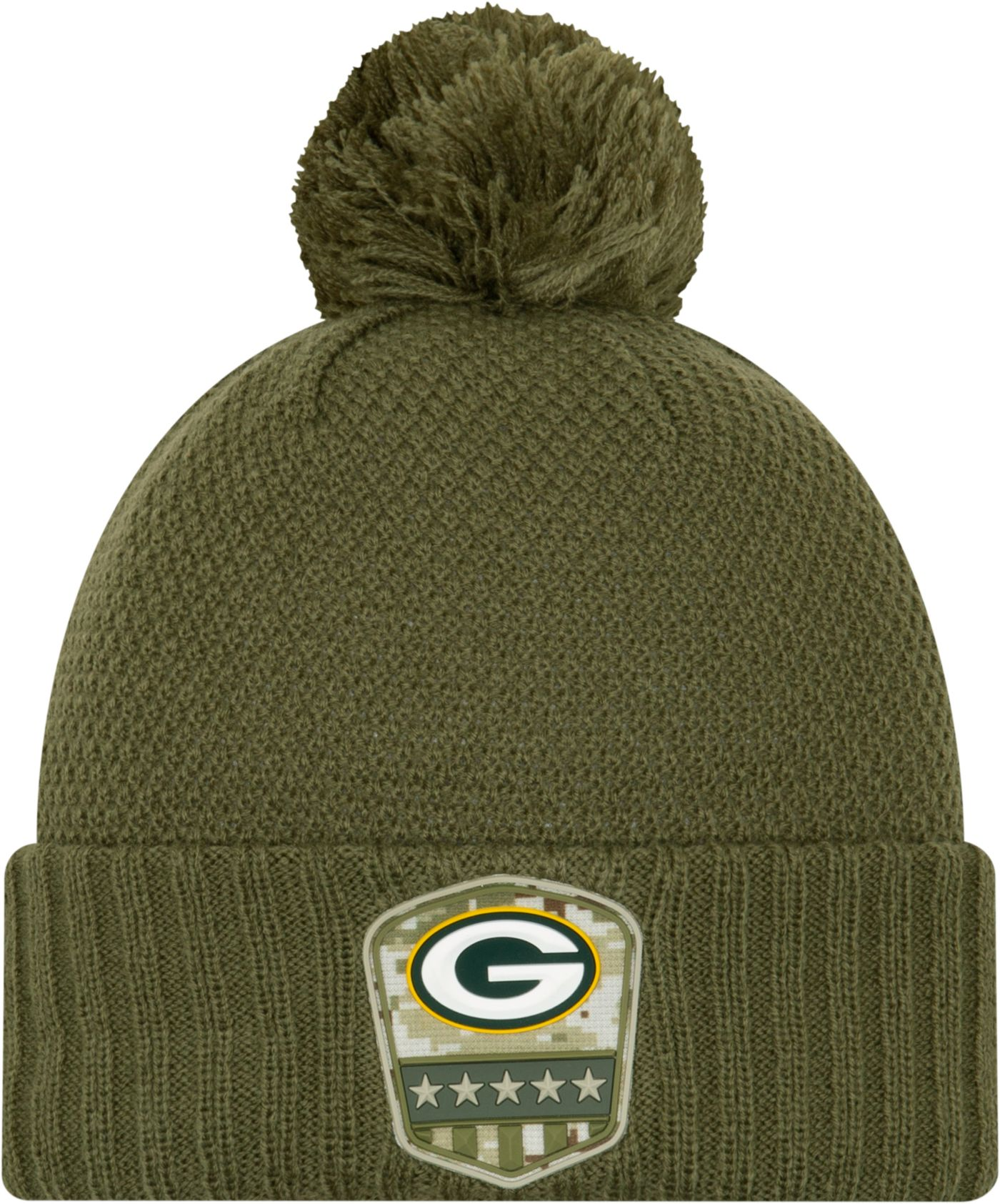 New Era Women's Salute to Service Green Bay Packers Olive Cuffed Pom Knit