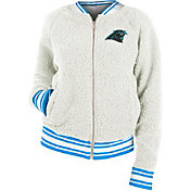 New Era Women's Carolina Panthers Sherpa White Full-Zip Jacket