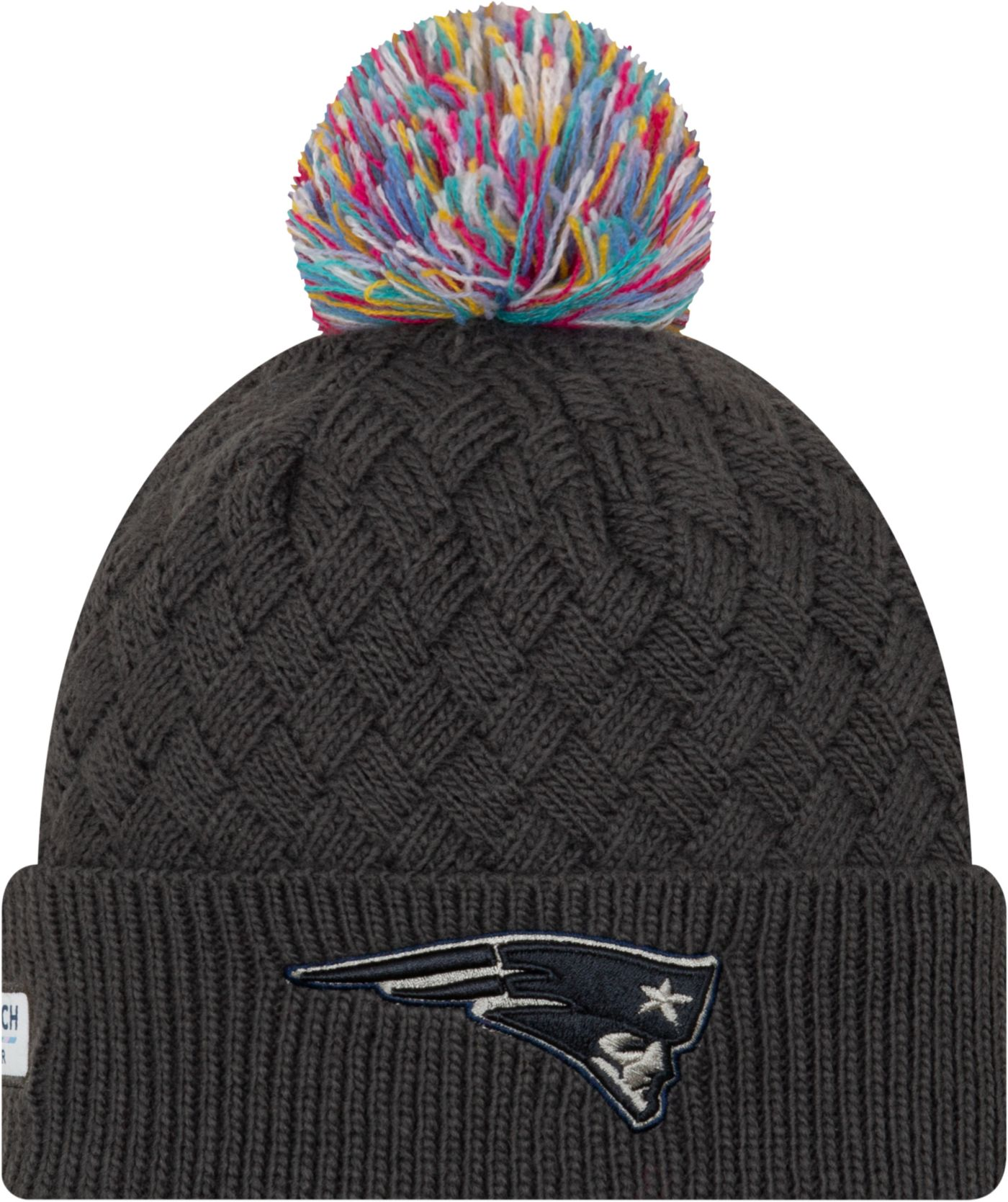 New Era Women's New England Patriots Sideline Crucial Catch Graphite Pom Knit