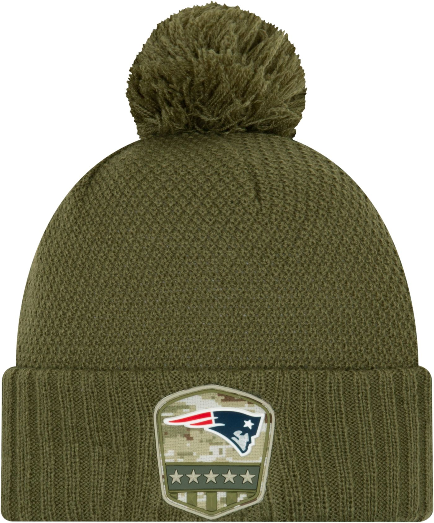 New Era Women's Salute to Service New England Patriots Olive Cuffed Pom Knit