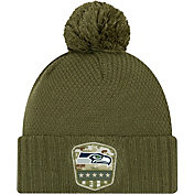New Era Women's Salute to Service Seattle Seahawks Olive Cuffed Pom Knit