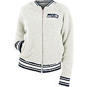 New Era Women's Seattle Seahawks Sherpa White Full-Zip Jacket