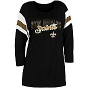 New Era Women's New Orleans Saints Foil Slub Black Three-Quarter Sleeve T-Shirt