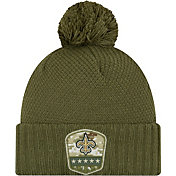 New Era Women's Salute to Service New Orleans Saints Olive Cuffed Pom Knit