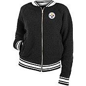 New Era Women's Pittsburgh Steelers Sherpa Black Full-Zip Jacket