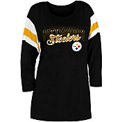 New Era Women's Pittsburgh Steelers Foil Slub Black Three-Quarter Sleeve Shirt