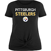 NFL Team Apparel Women's Pittsburgh Steelers Glitter Knot Black Plus Size T-Shirt